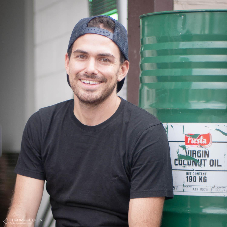 Ben and 190 kg of coconut oil at the Van Leeuwen factory in Greenpoint