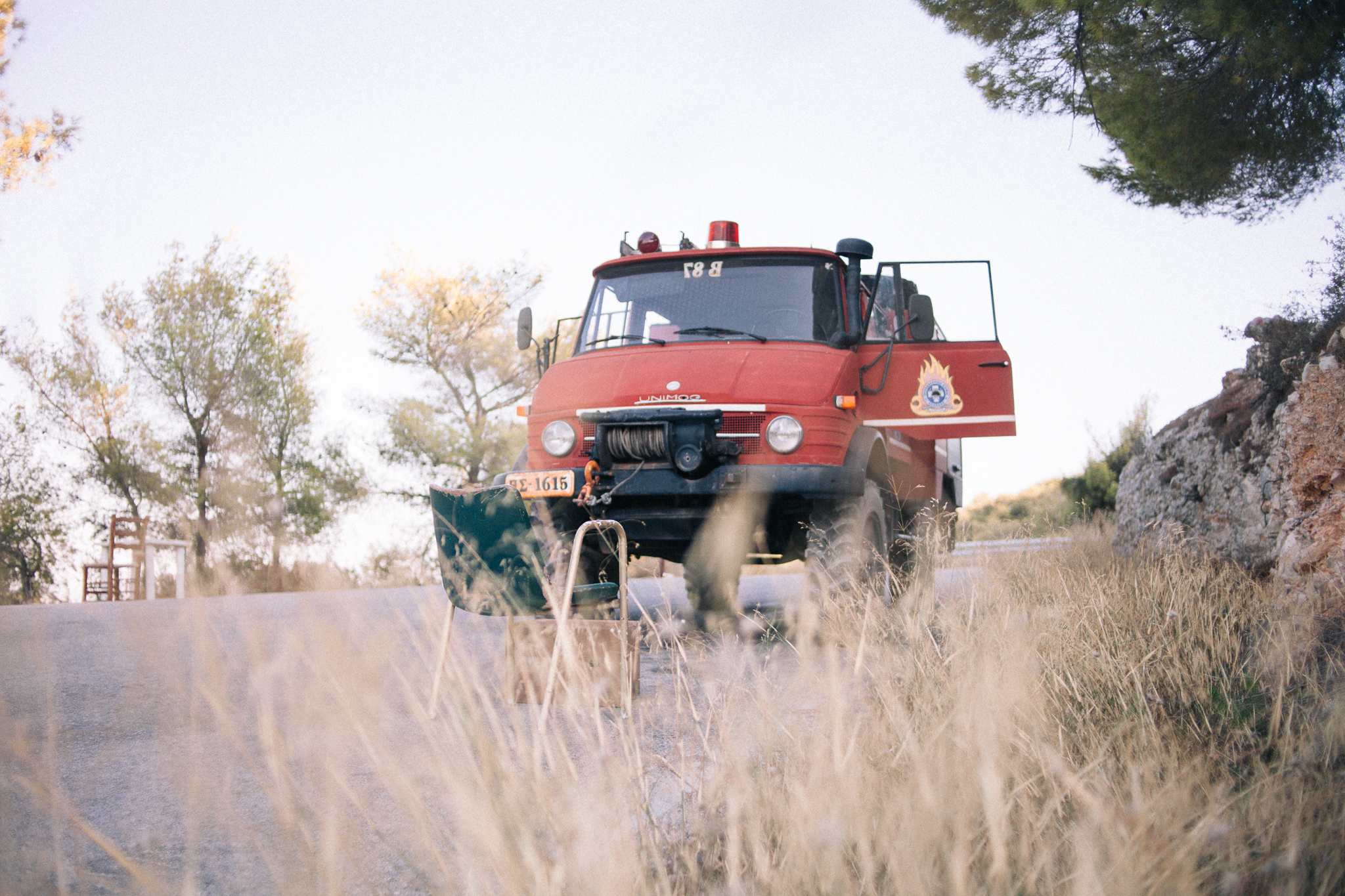The only firetruck on the island, a Unimog 406