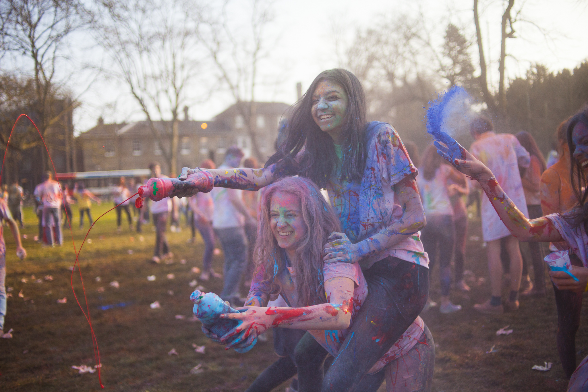 A tough first test for the lens - Cambridge Holi party