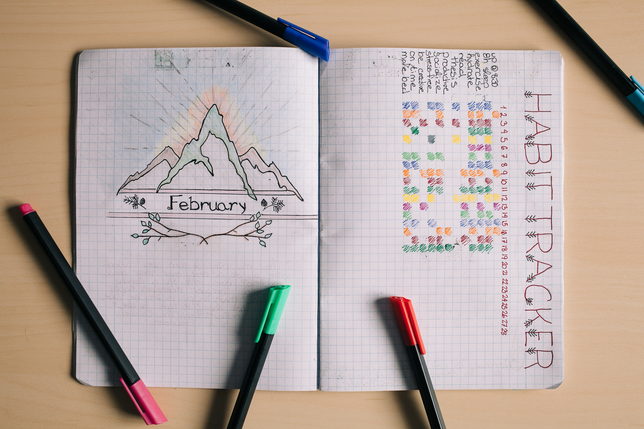 Here is a page from  Aisling 's old bullet journal with some really nice decoration!