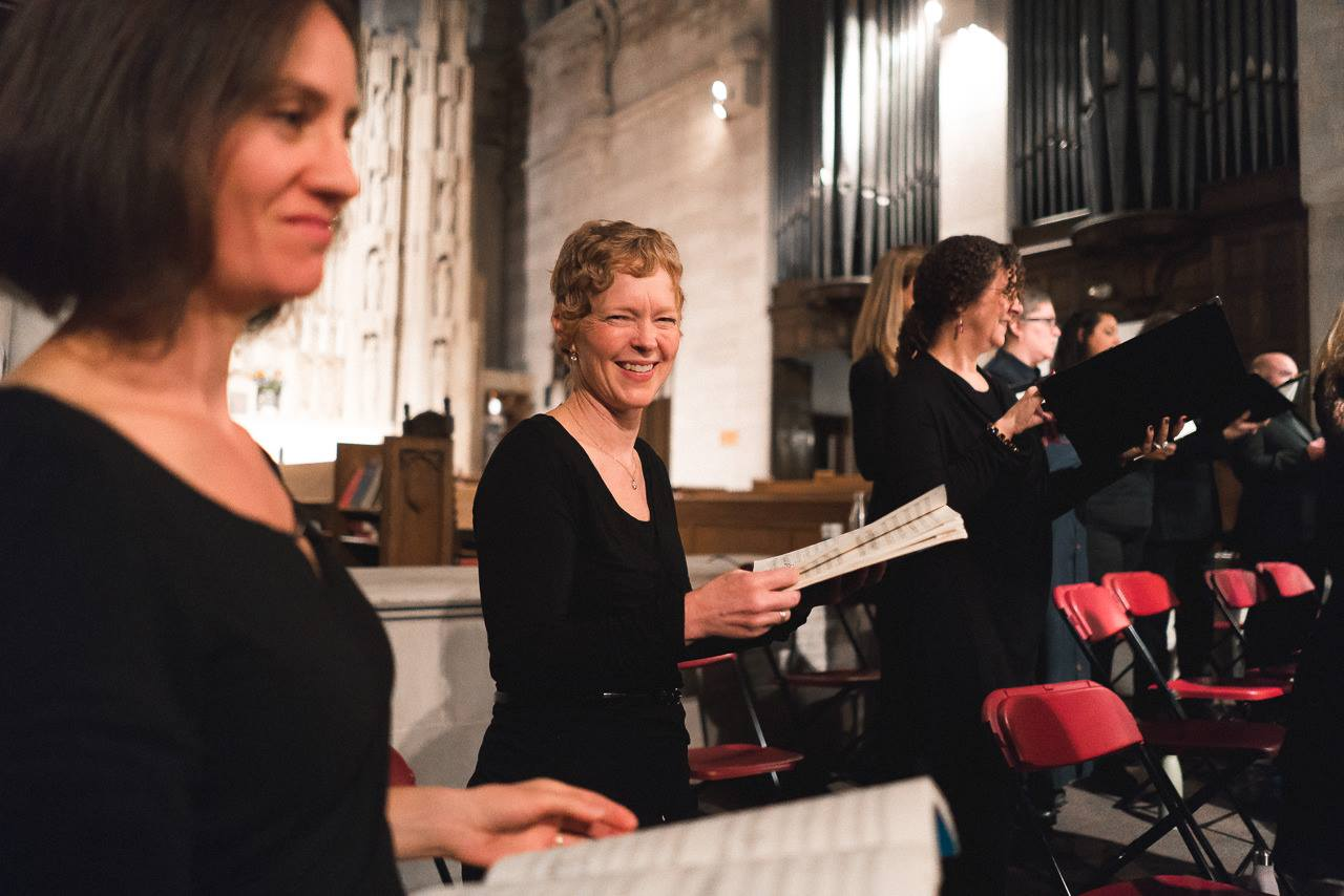 The happy soprano section of Bella Voce. Photo by Joe Mazza.