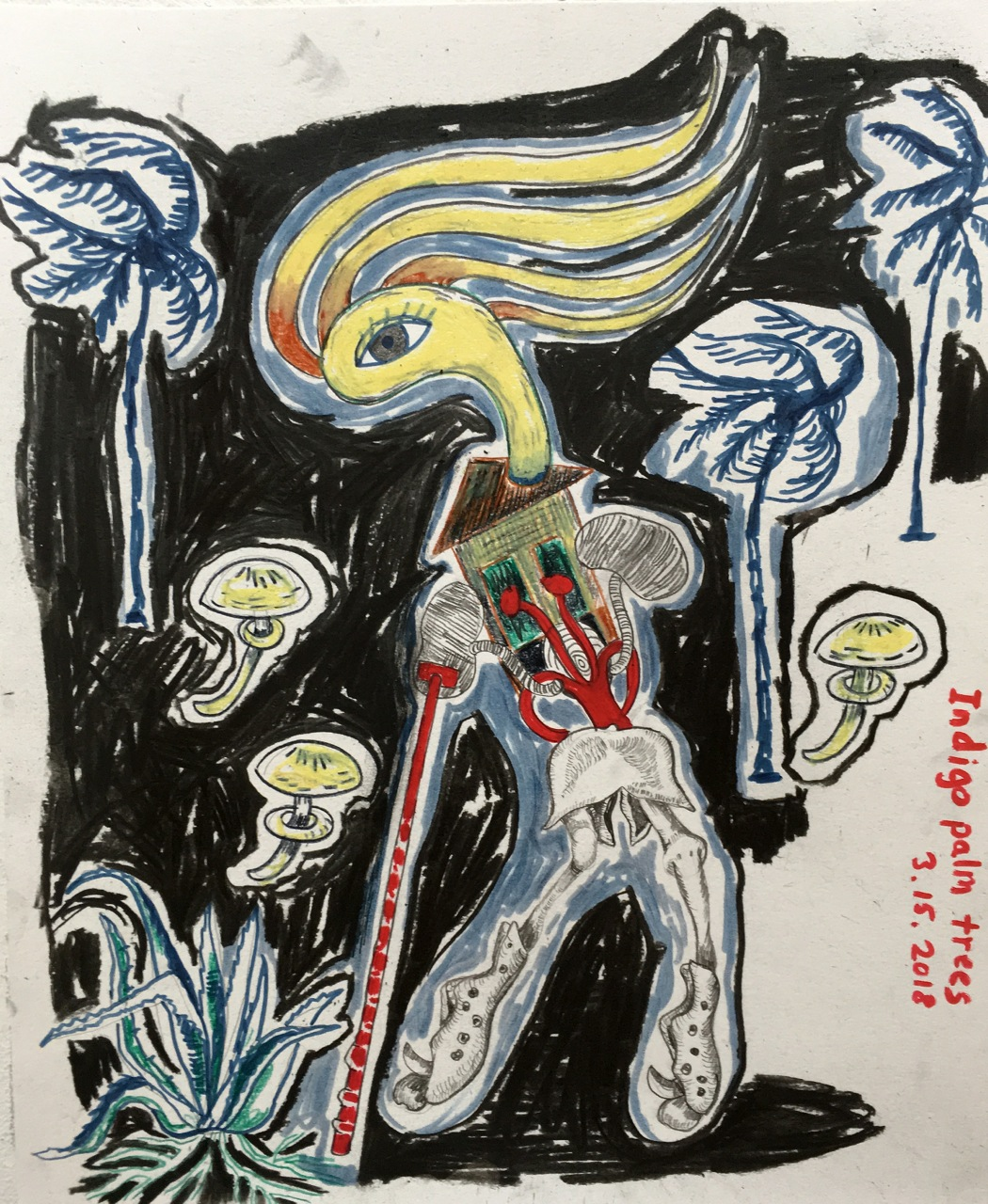 1_SelfPortrait _with_Indigo_Palm_Trees2018,mixedmedia_drawing_11x17.jpg