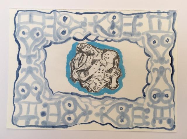 Indigo framed Icelandic Lava stone