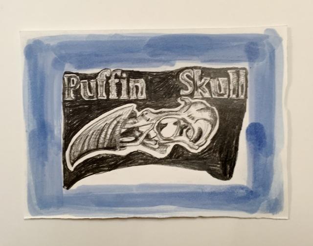 Indigo framed Puffin Skull