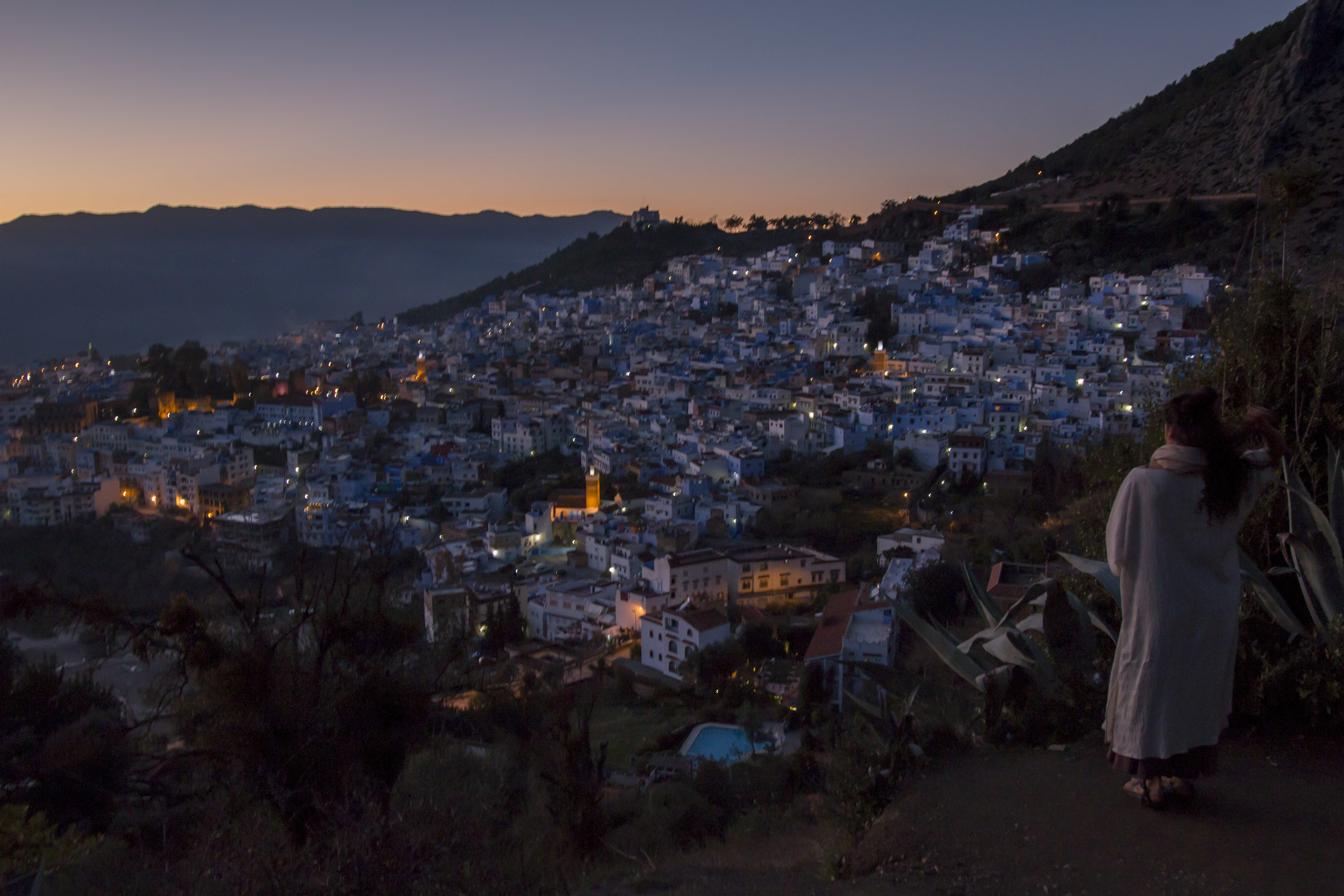 Eric recently returned from a 3 week vacation to Morocco. This is twilight in Chef Chaouen.
