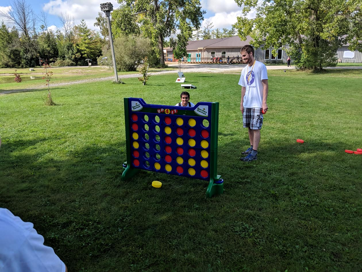 Dhruv and Thomas in an epic battle of giant connect 4