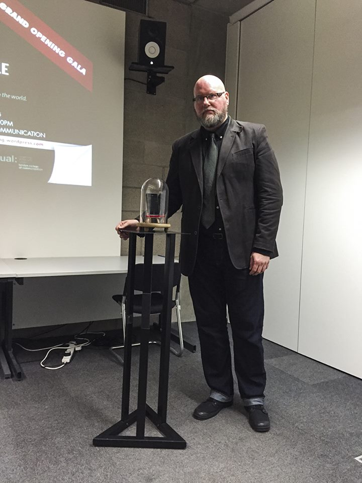 Museum Director and Chief Curator John Kannenberg poses with The Museum of Portable Sound at its Grand Opening Gala, November 2015