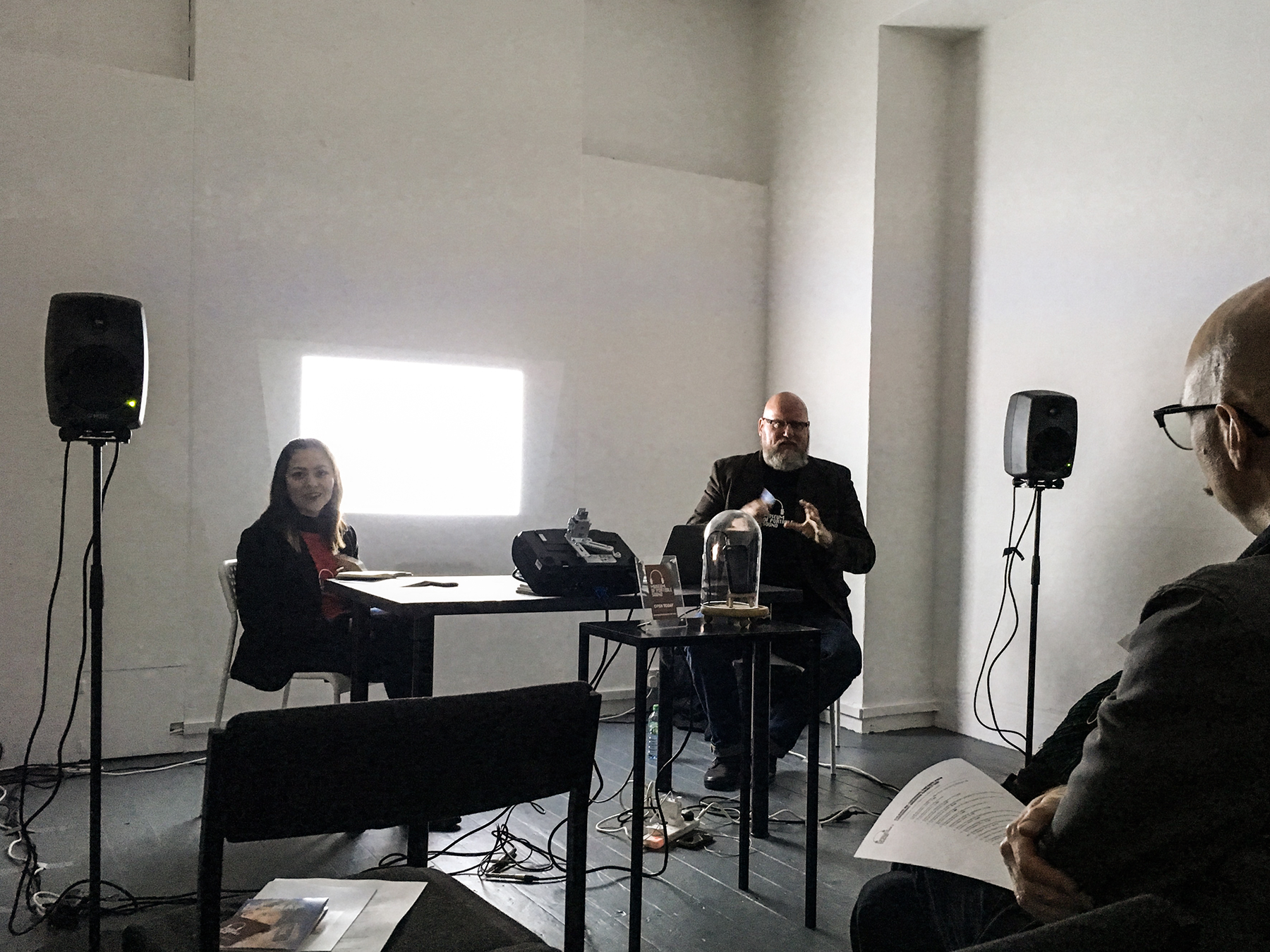 Curator Cristina Sousa Martínez (left) & Director John Kannenberg take questions from the audience at the Museum's Grand Re-Opening event and private view at Chalton Gallery, King's Cross, Nov. 2016.