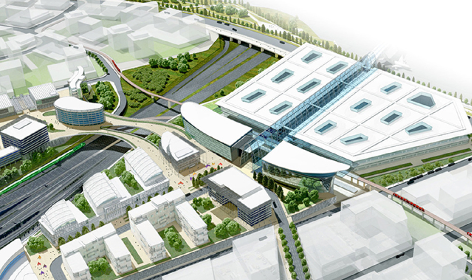 Concept rendering of proposed transit centre and passenger processing facility at Toronto Pearson International Airport (CNW Group/Greater Toronto Airports Authority)