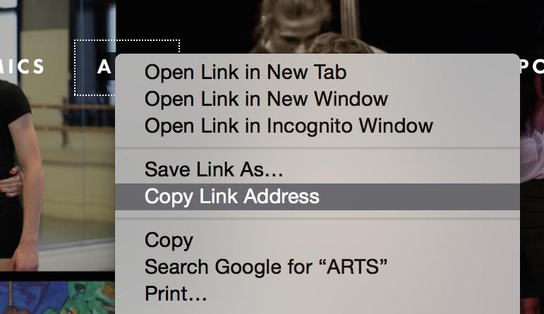 To set a link, copy the link address