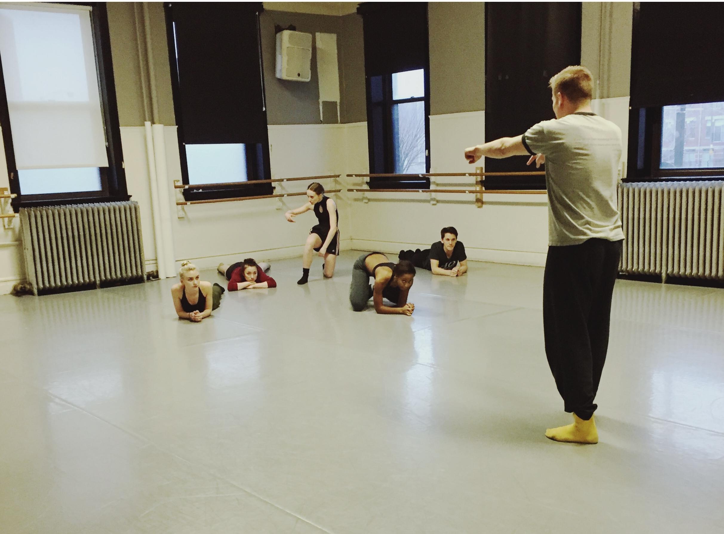 Garth Johnson with Dance students.