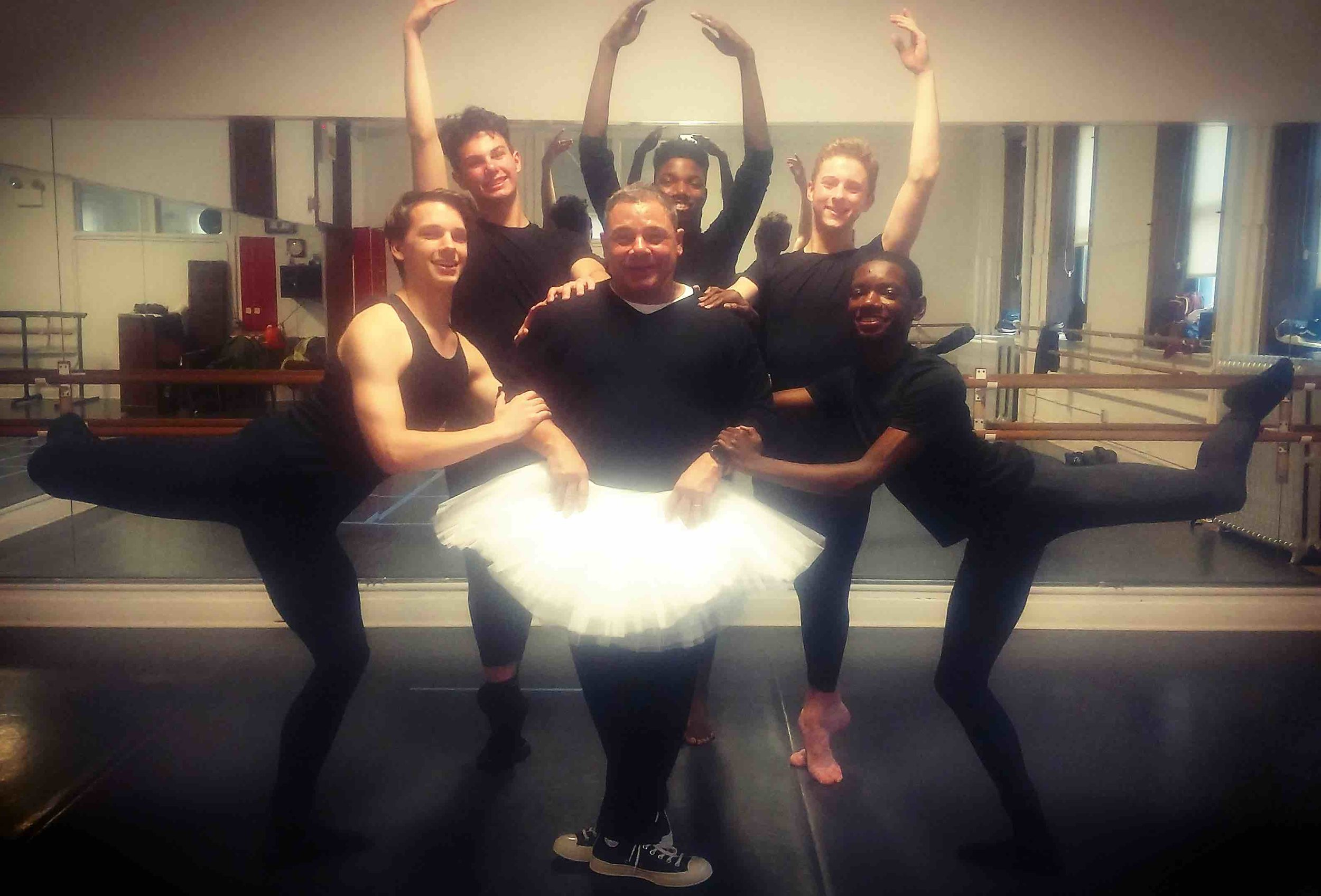Rusty with Academy dancers Zach, Aden, Isaiah, Colin, and Amari.