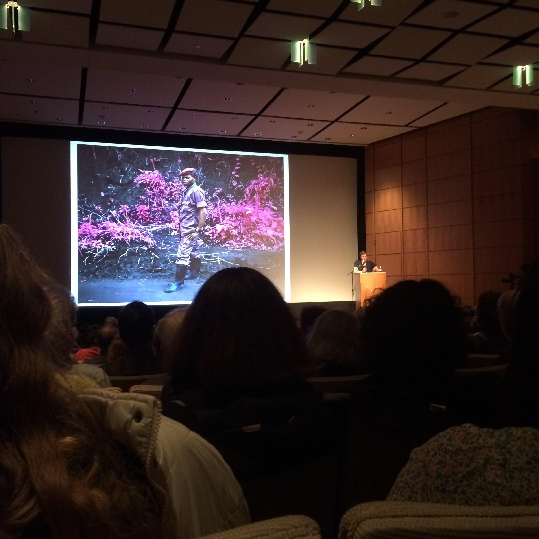 Richard Mosse giving an Artist Talk at the Portland Art Museum.