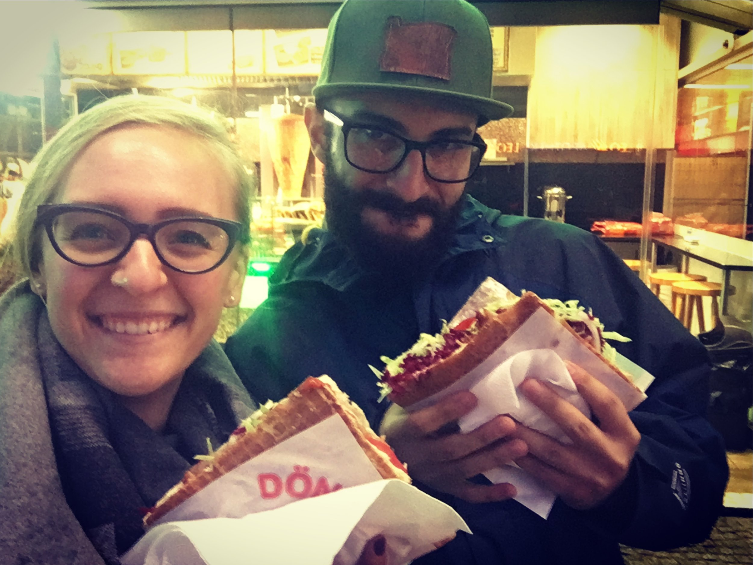 About to dig into our Döner! Just know going it that it won't be pretty to eat, but quite possibly one of the most delicious things you ever put in your mouth.