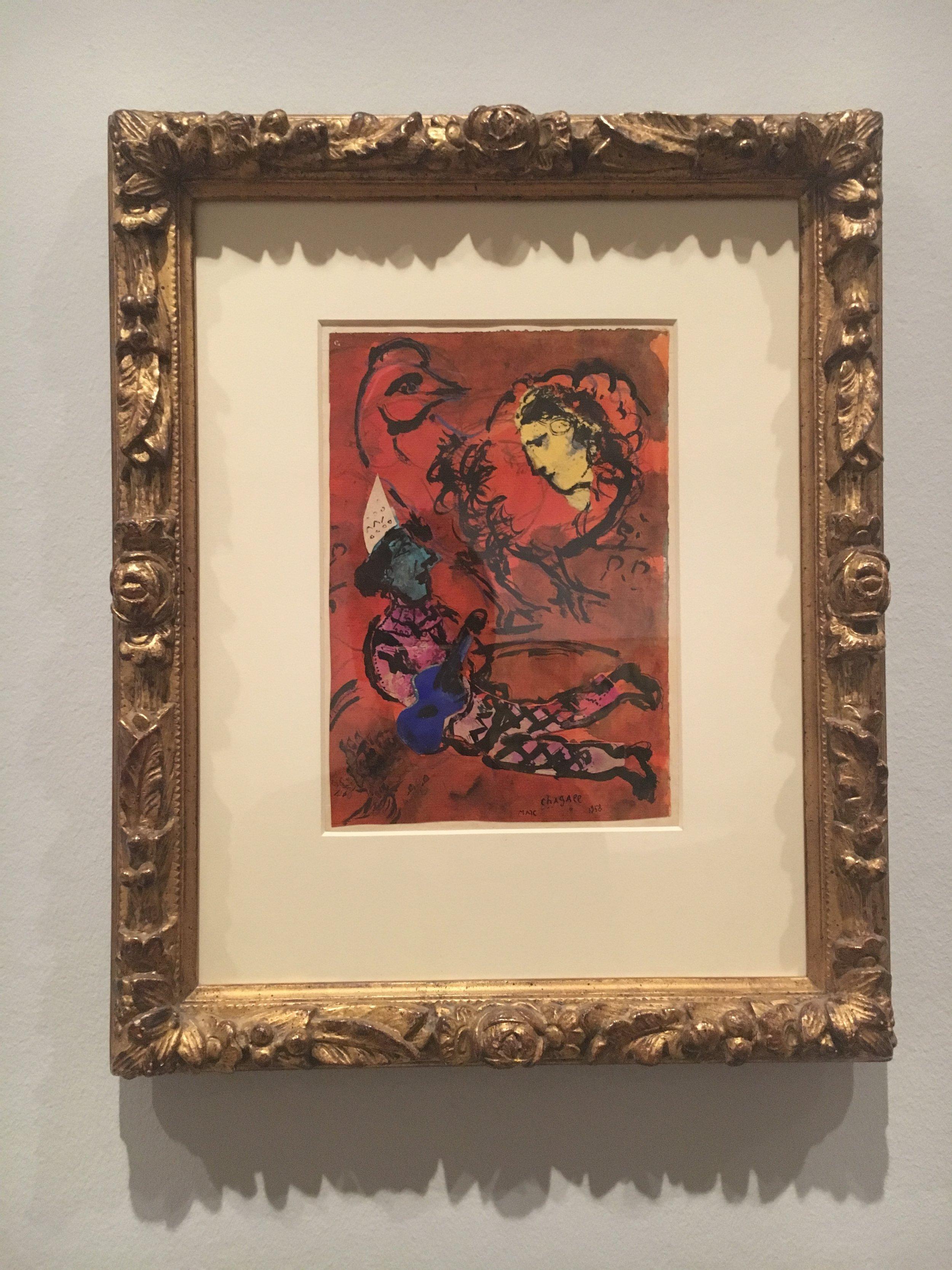 Marc Chagall, Clown with Blue Guitar , 1958, gouache.