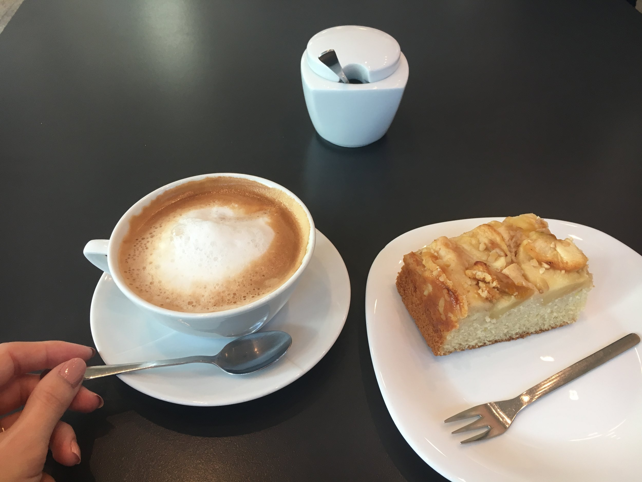 Scrumptious extra hot latte and  Apfelkuchen  or Apple Cake!