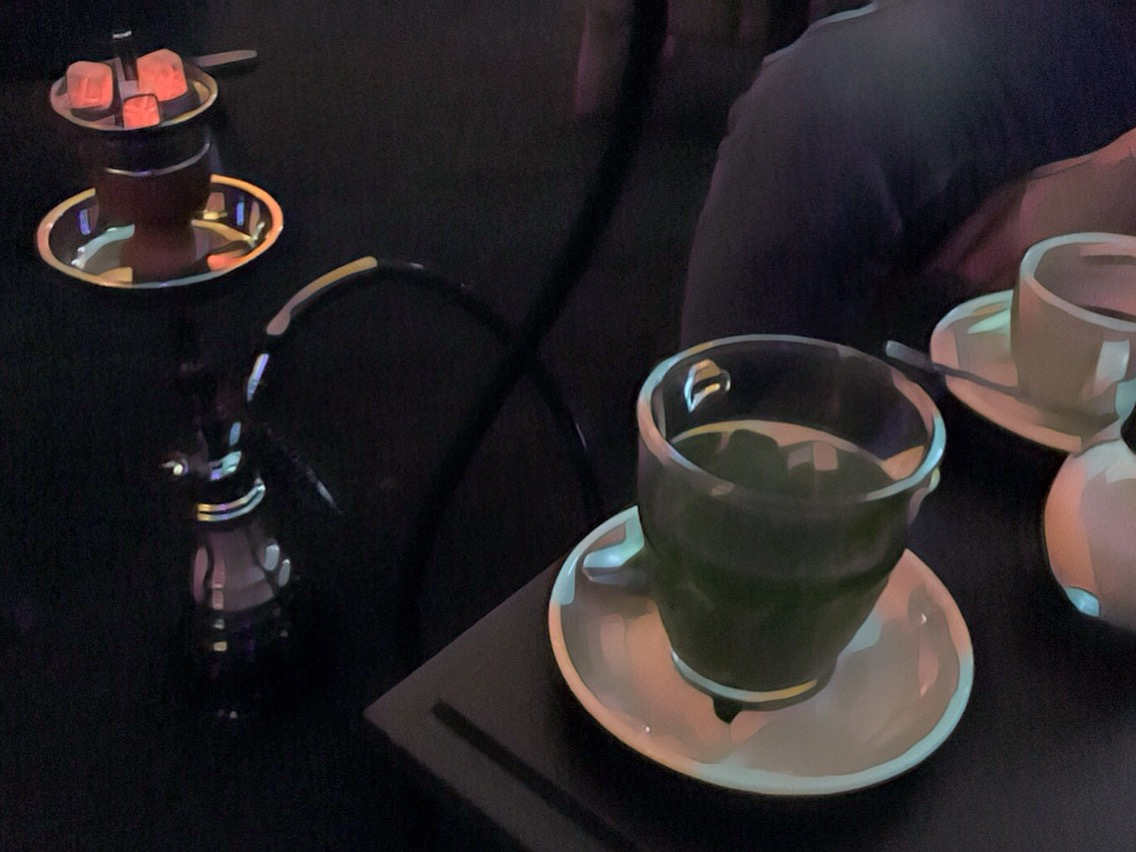 Our fresh mint tea and coffee were a nice pairing with the mild apple flavor of the Shisha.