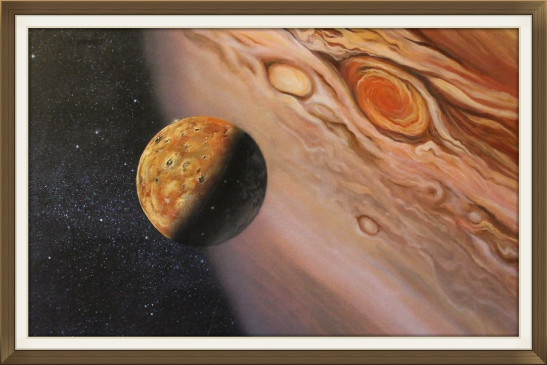 """"""" Juipter and Io """", by Clive Burrows, original art work, Space art."""