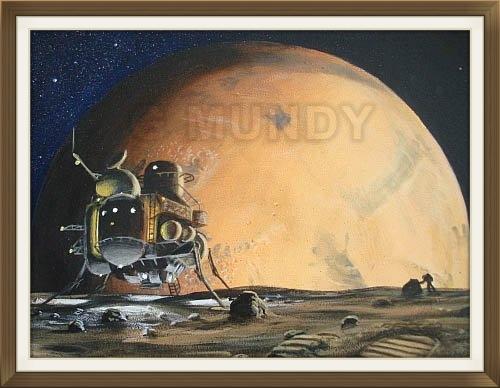 """ Phobos Explorers "", by Gavin Mundy, original art work, Space art."