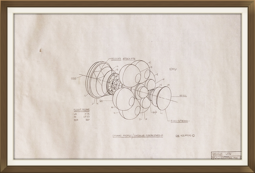 """"""" Project   Daedalus """", by Rick Sternbach, original art work, Space art/engineering.  Drawn for Carl Sagan and 'Cosmos' TV series. Sepier paper."""
