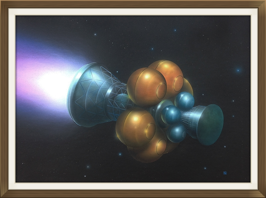 """"""" Project   Daedalus """", by Rick Sternbach, original art work, Space art/engineering.  Painted for Carl Sagan and 'Cosmos' TV series."""