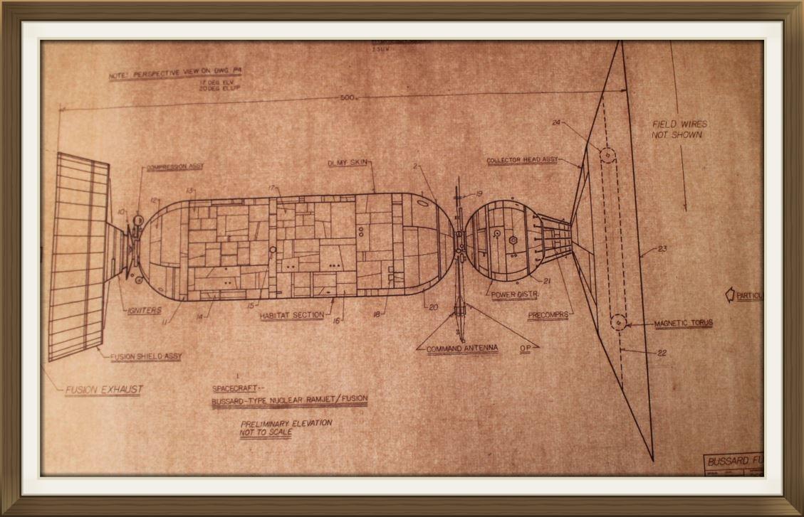 """ Bussard   Interstellar Ramjet "", by Rick Sternbach, original art work, Space art/engineering.  Drawn for Carl Sagan and 'Cosmos' TV series. Sepier paper."