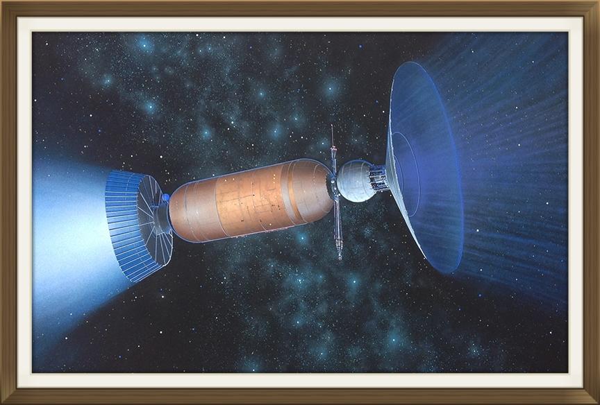 """ Bussard   Interstellar ramjet "", by Rick Sternbach, original art work, Space art/engineering.  Painted for Carl Sagan and 'Cosmos' TV series."