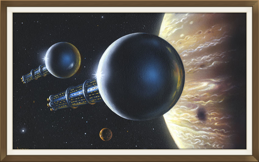 """ Enzmann Starships at Jupiter "", by David A Hardy, Original art work, Space art."