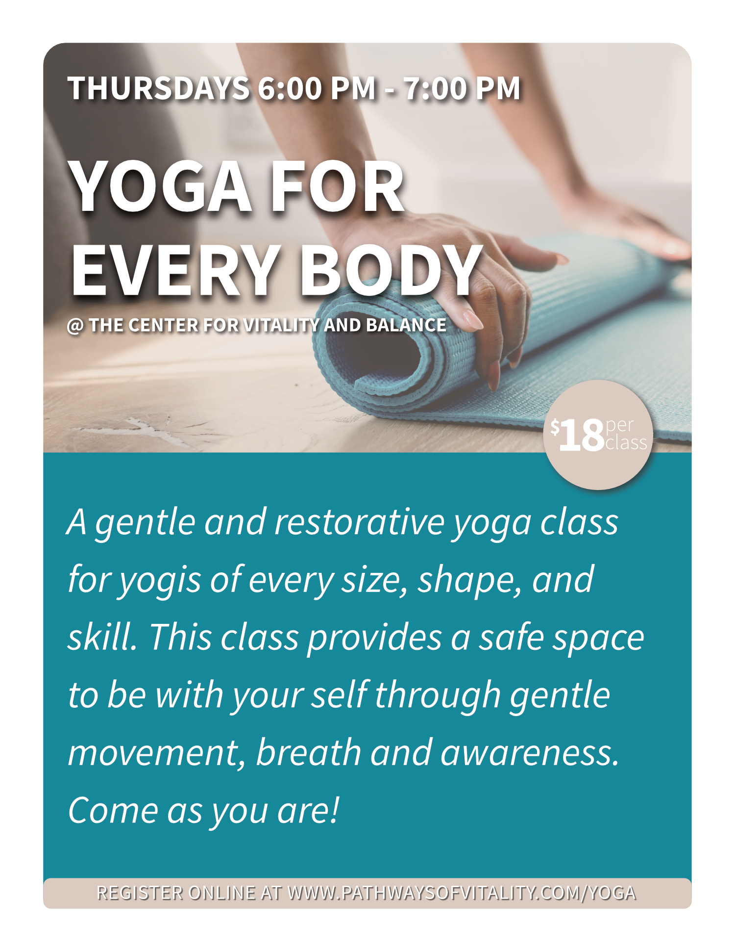 Yoga for Every Body at the Center for Vitality and  Balance