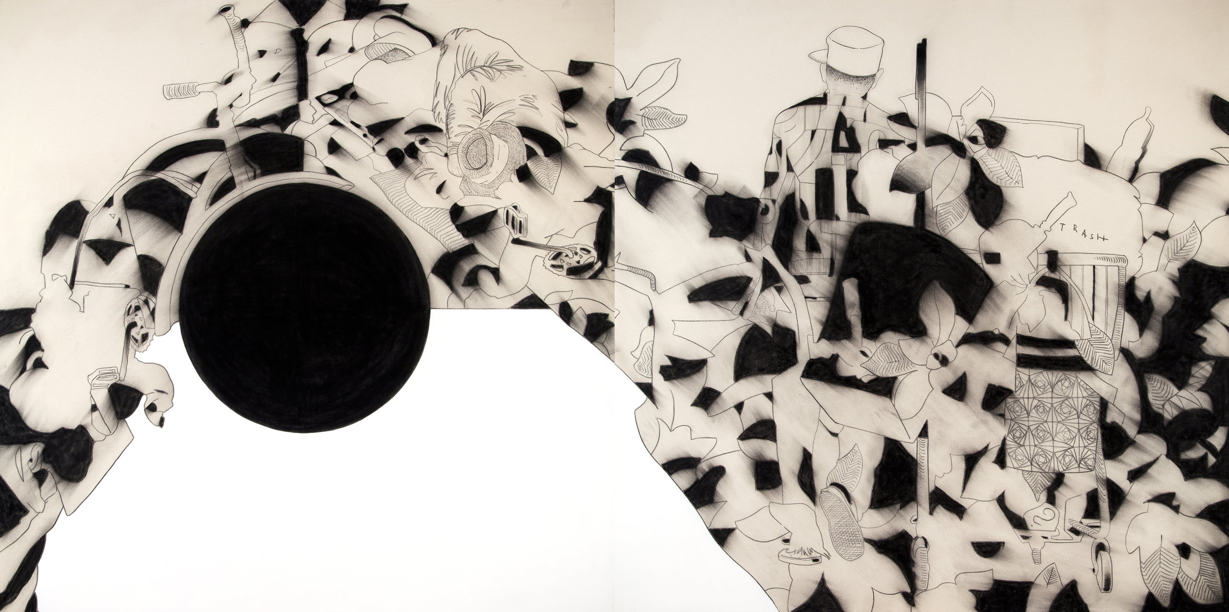 diptychon 200x400cm charcoal and gesso on canvas