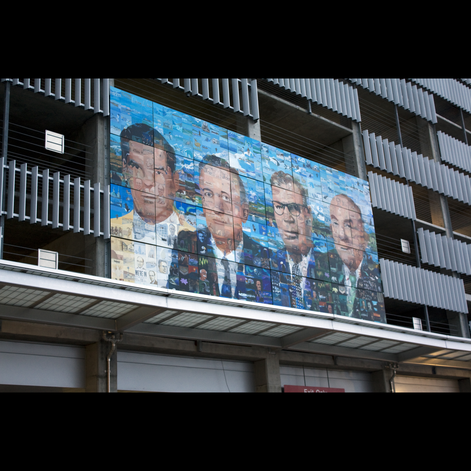 """Focus on Statehood"" acrylic on aluminum, 20' x 40' 2008  Linny Pacillo Parking Garage Anchorage"