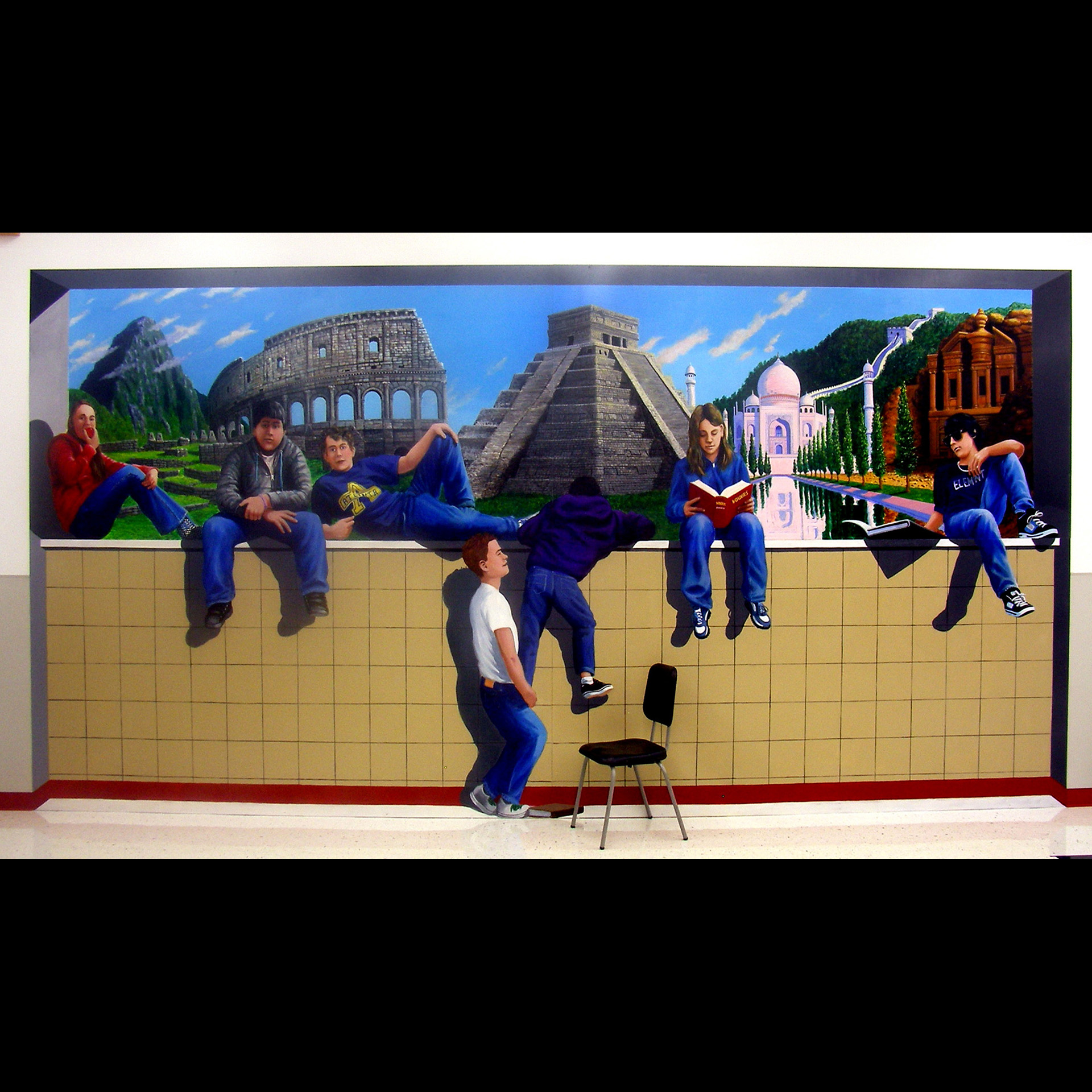 """Wonders of the World"" 2009 acrylic on dibond aluminum.8'x16'  Wasilla Middle School"