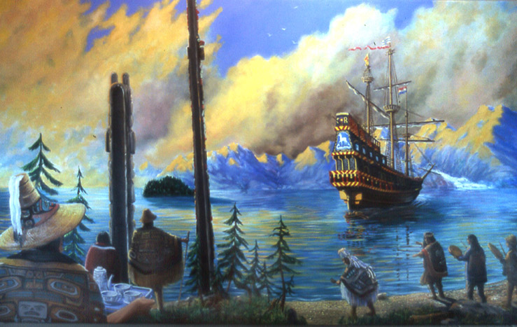 """Drake Arrives at Angoon"" 6'x4' oil"