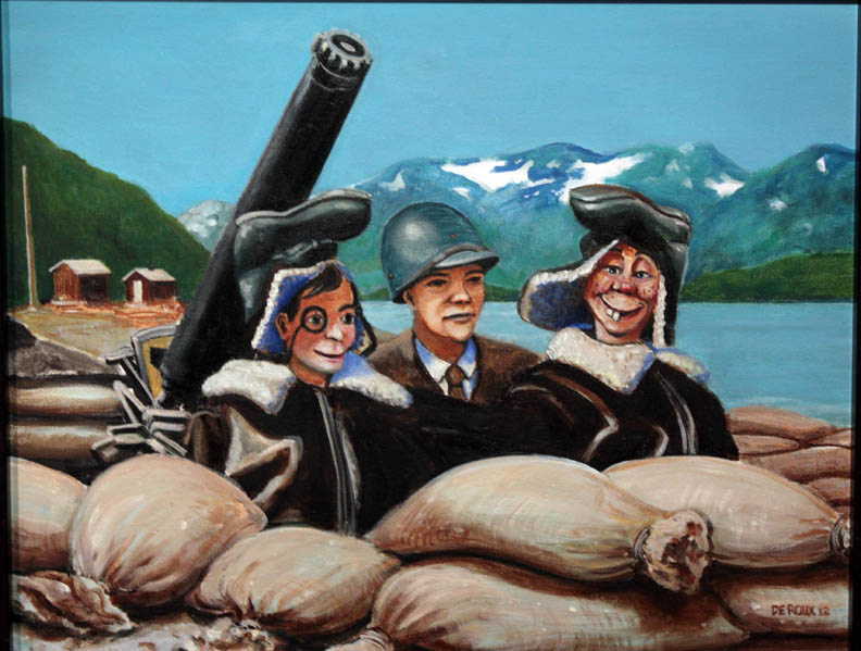 """Edgar Bergen, Adak, 1944"", oil"