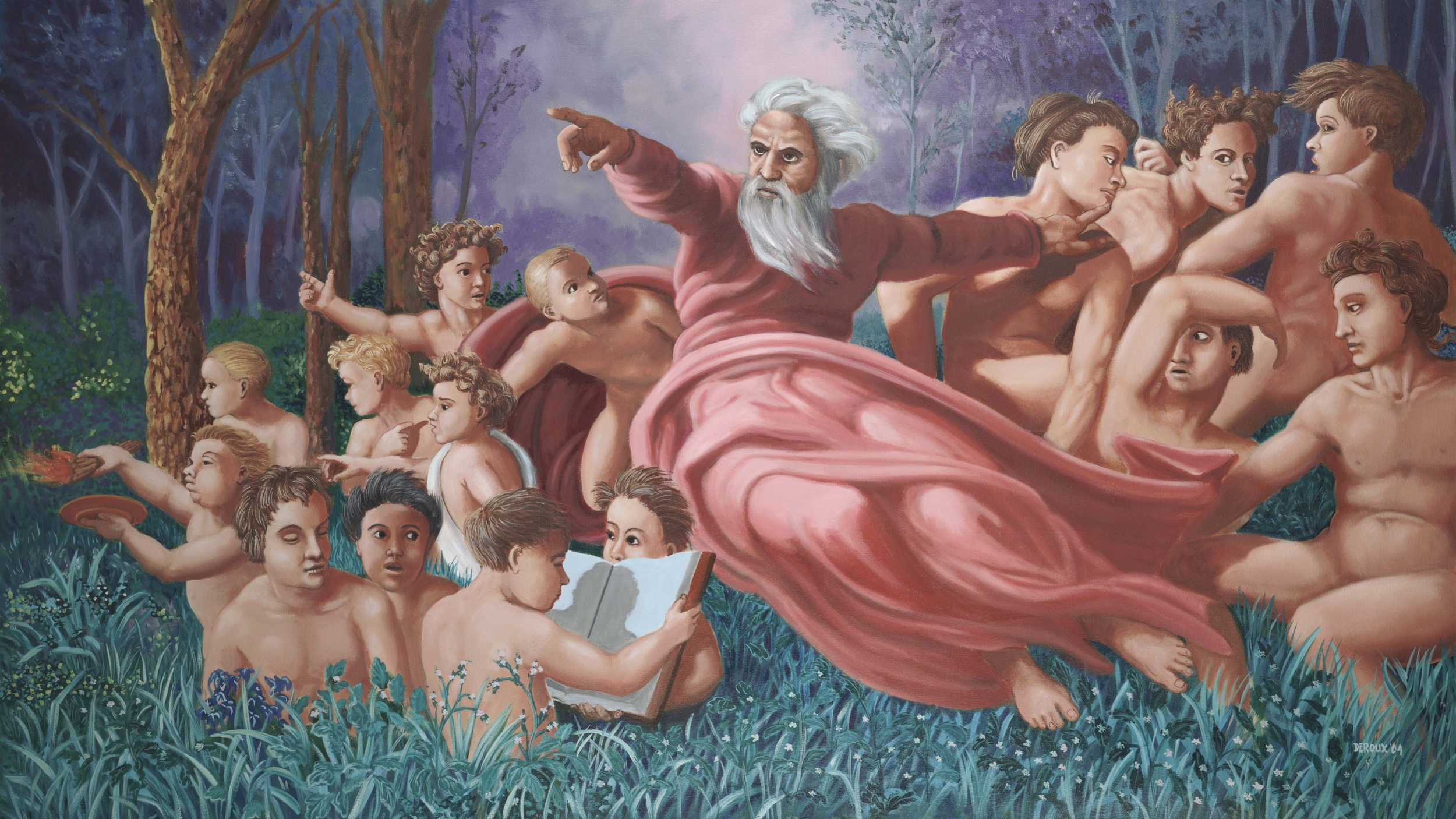 """God Separates the Men from the Boys"" oil, 4'x6'"