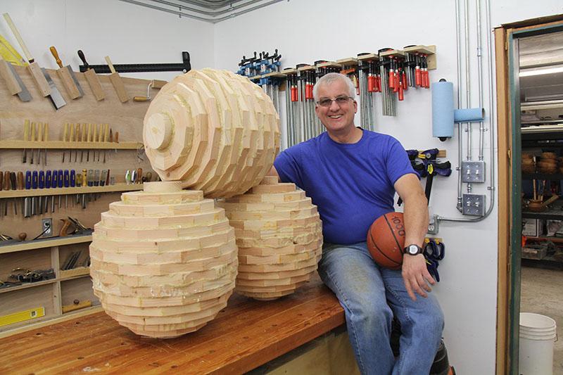 Robert Fletcher with glued up ..... spheres