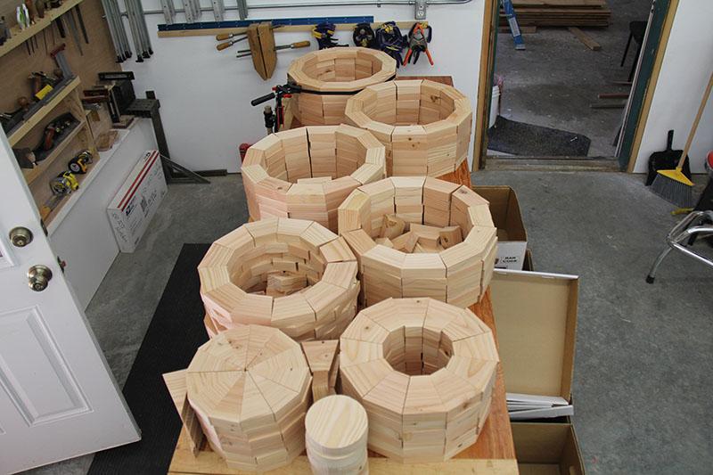 """""""Intent"""" creation of hollow wooden spheres by Robert Fletcher Woodeye Studio."""