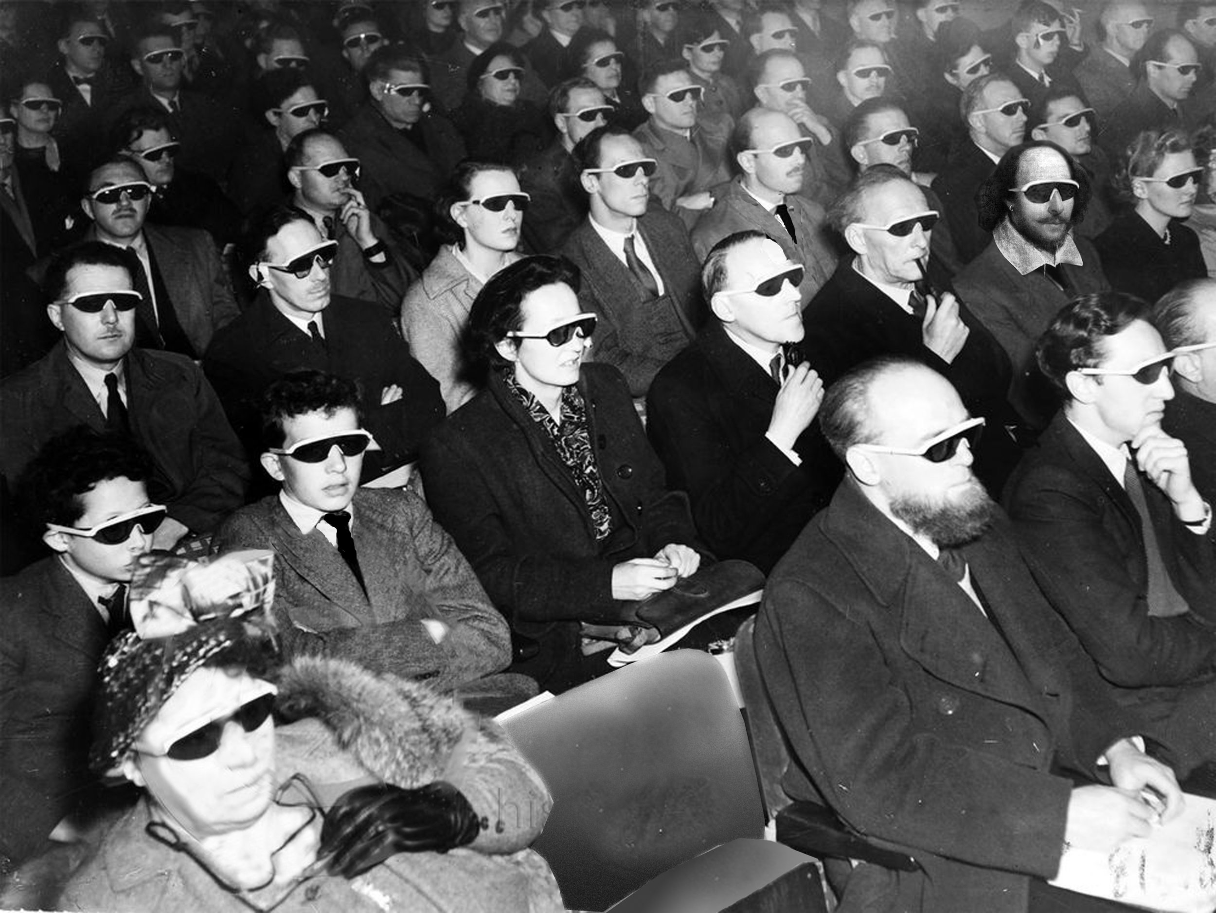 Shakespeare in a movie theater in New York which must have been around 1950. He is sitting in the second row next to Marcel Duchamp.