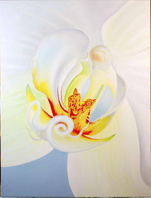 "ORCHID INTERIOR 30""X40"" OIL ON CANVAS $1,750"