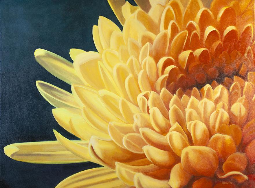 """Chrysanthemum"" oil on canvas 3'x4' 2019 $2,000"