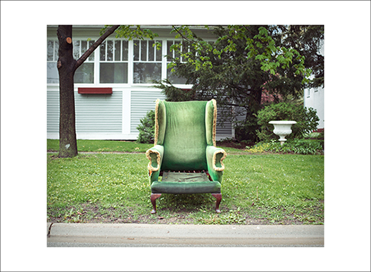"Green Chair © Katie Harwood   Archival Inkjet print.  4.5"" x 5.5"" image on 5.5"" x 7.5"" paper.  Printed on Canson Satin Baryta 310 gsm, Pure White. Signed."