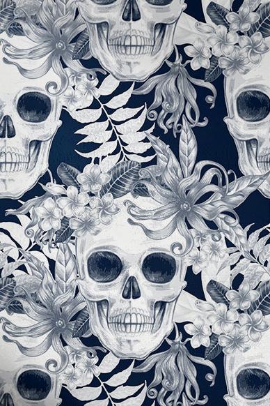 Meridian Abbey Interiors - Hibiscus and Skulls Wallpaper.jpg