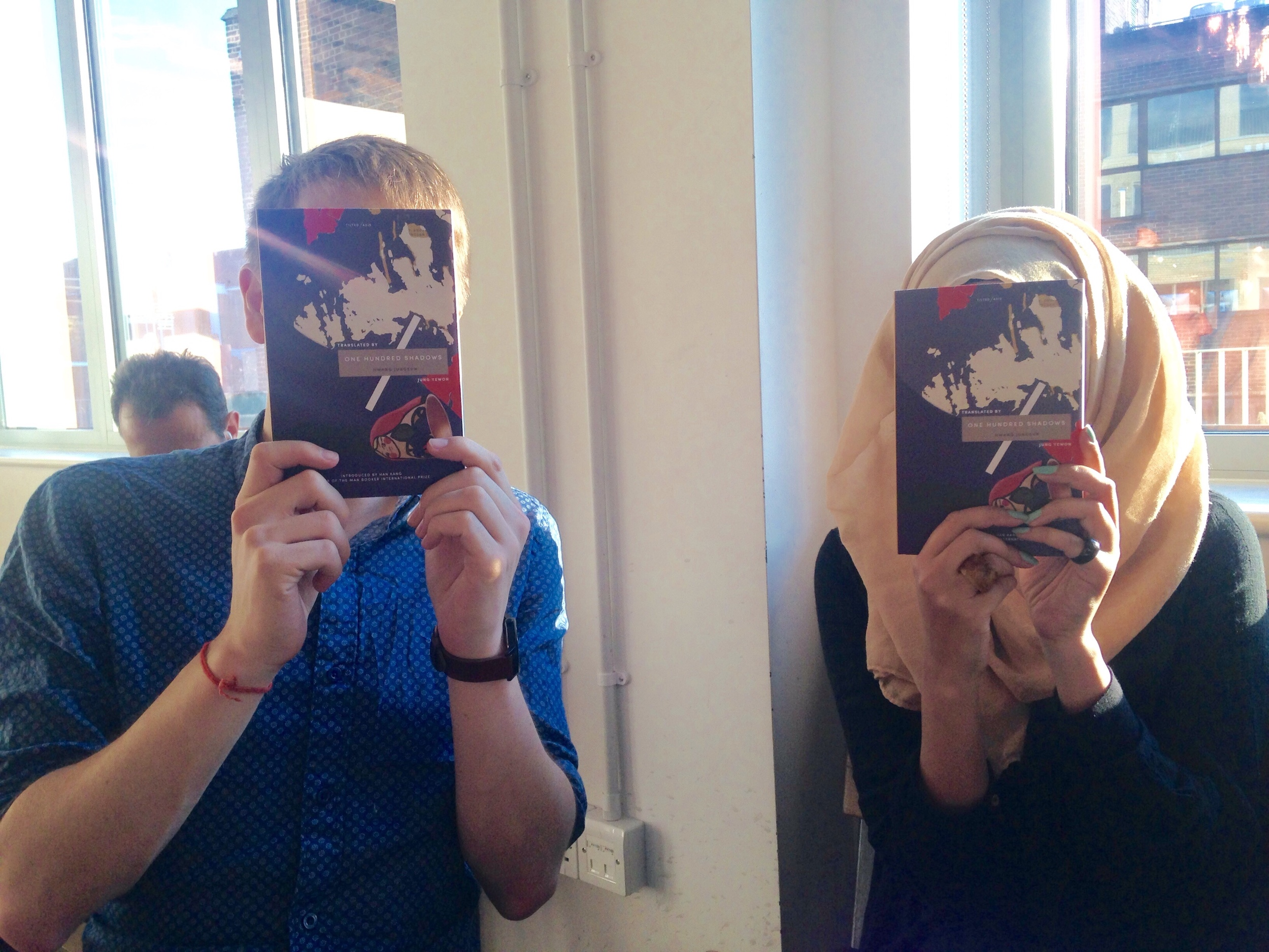 Simon and Sabeena with the first copies of   One Hundred Shadows  .