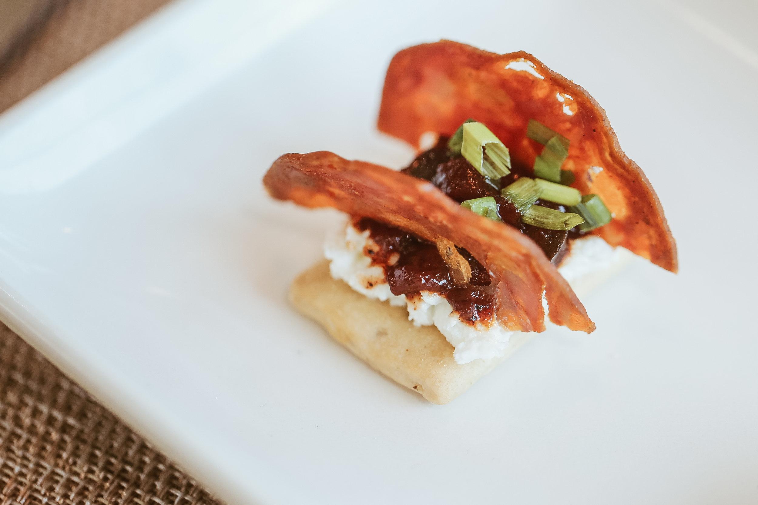 Extra Brut Food Pairing: Salt & Pepper Crostini with Crispy Chorizo, Fresh Chevre and Ancho Chili Jam