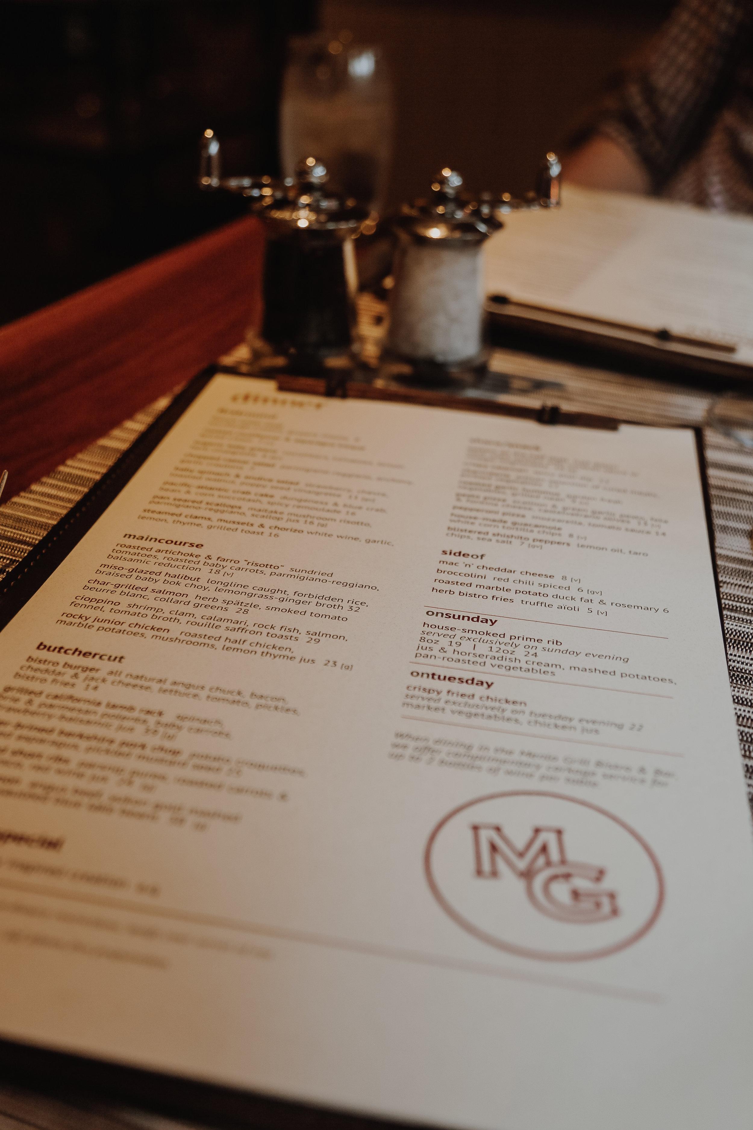 Dinner menu items range from $14-$39