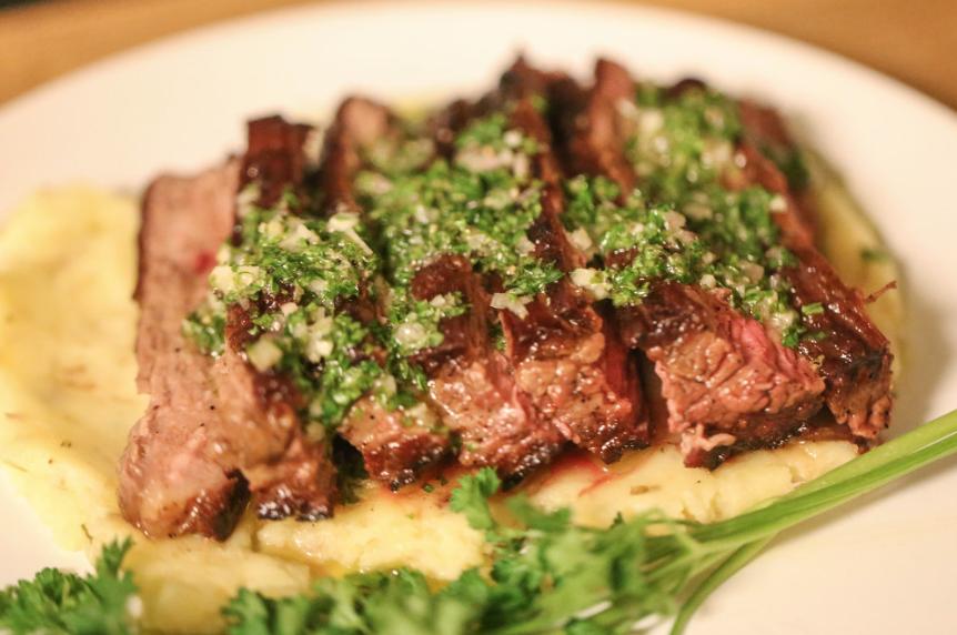 steak chimichurri with rosemary potato puree