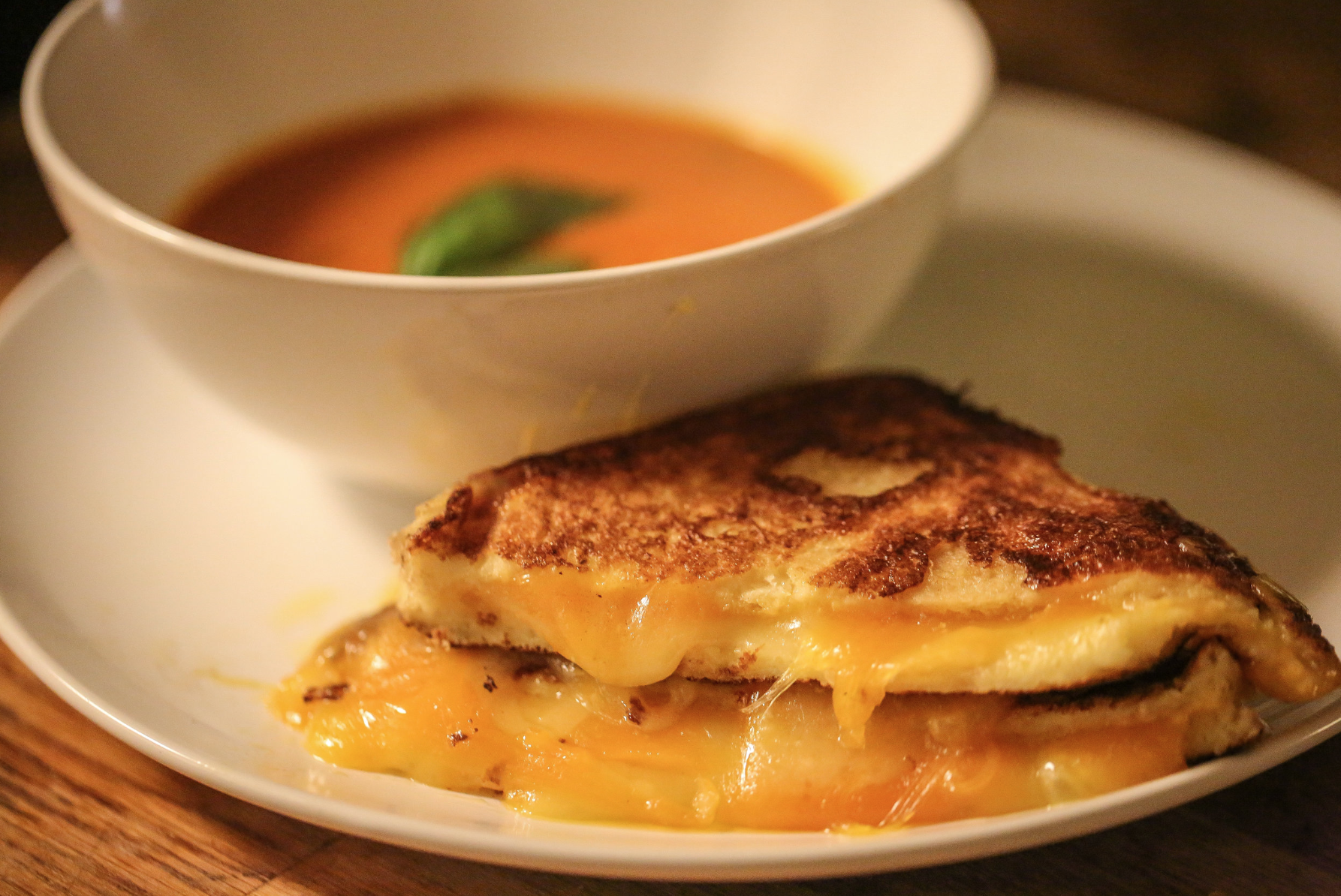 dressed up grilled cheese and tomato soup