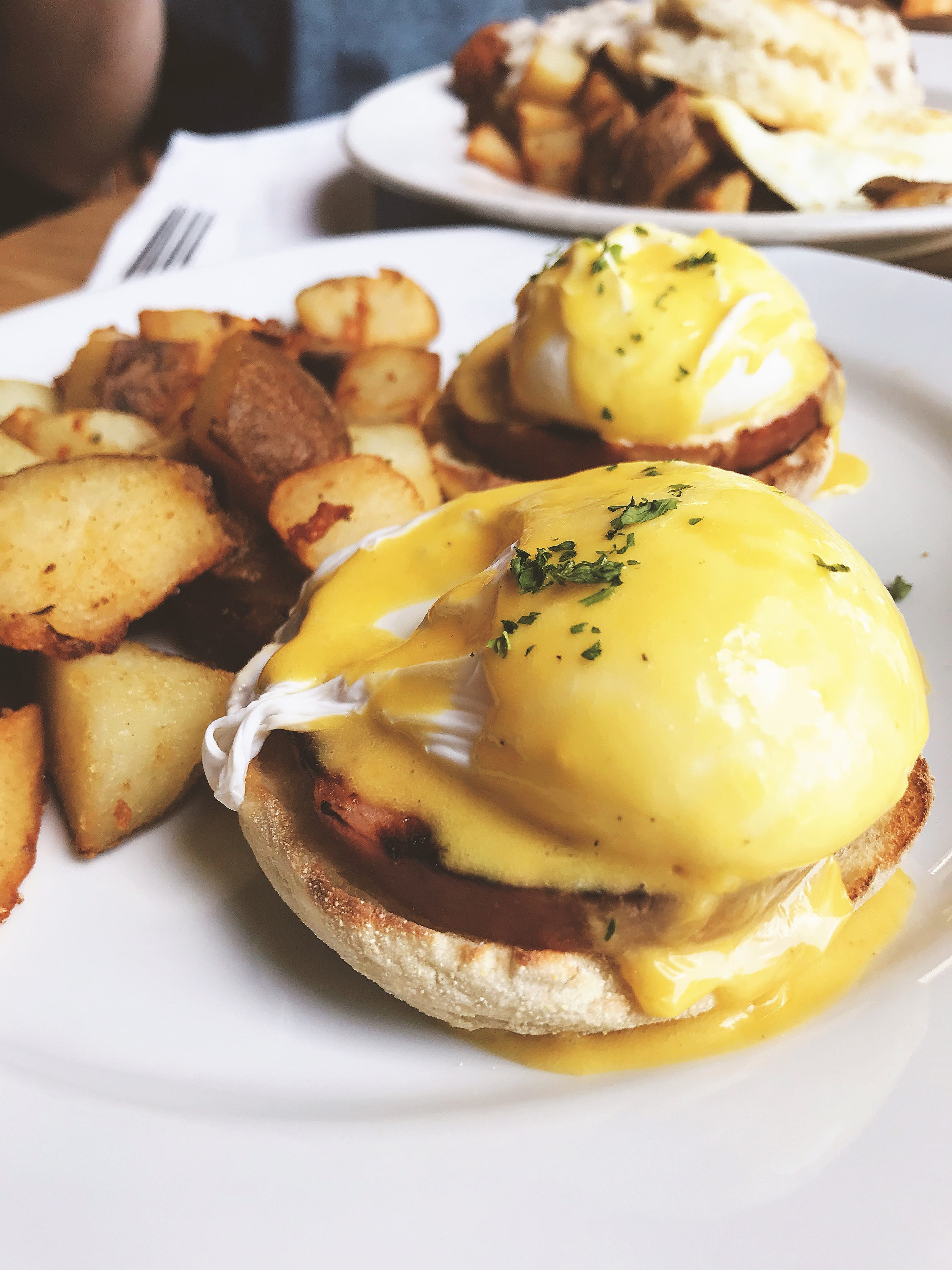 Krista's Go-to Order: Eggs Benedict with home fries