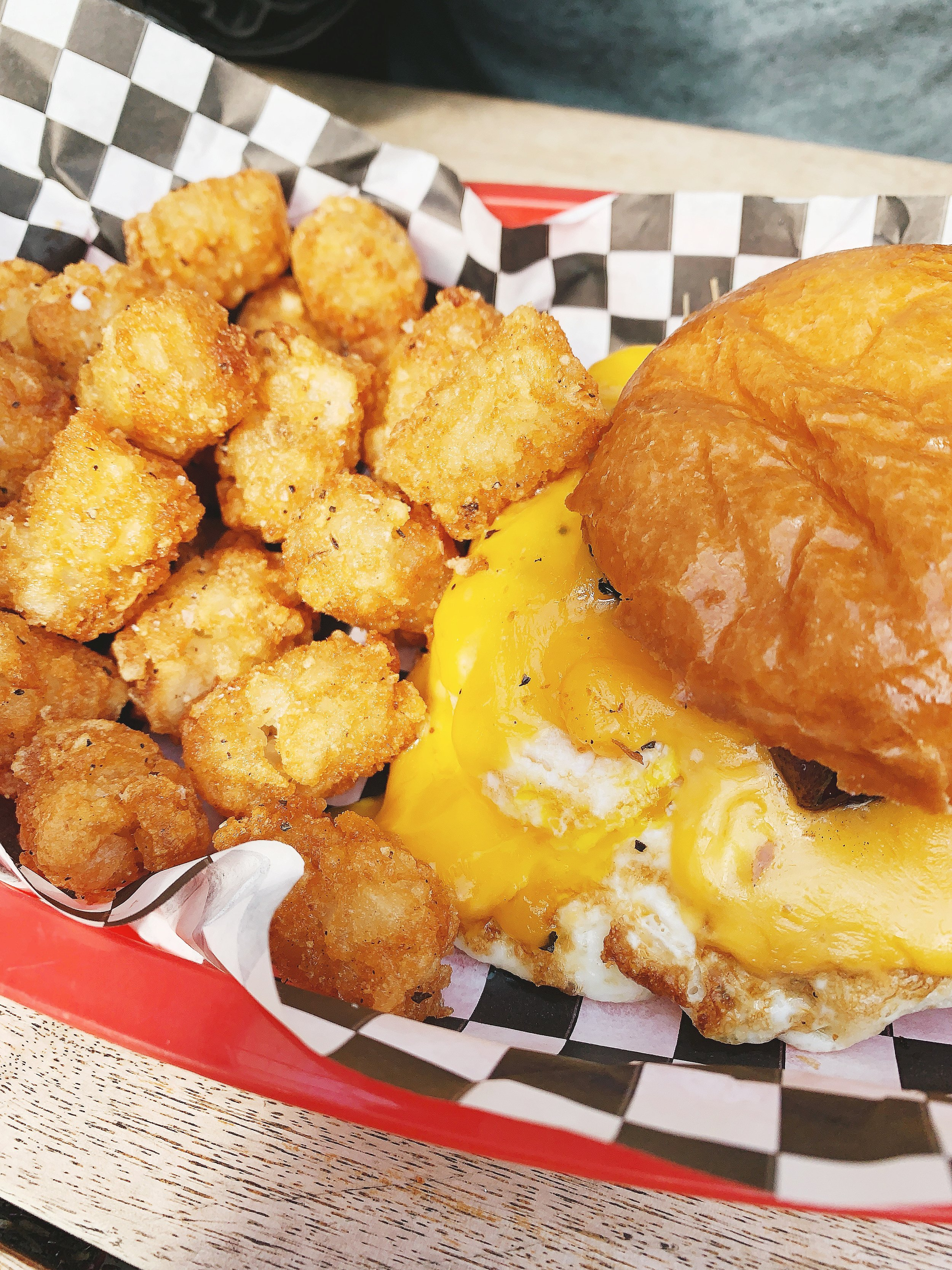 Alec's Go-to order: Breakfast Sandwich with Tater Tots