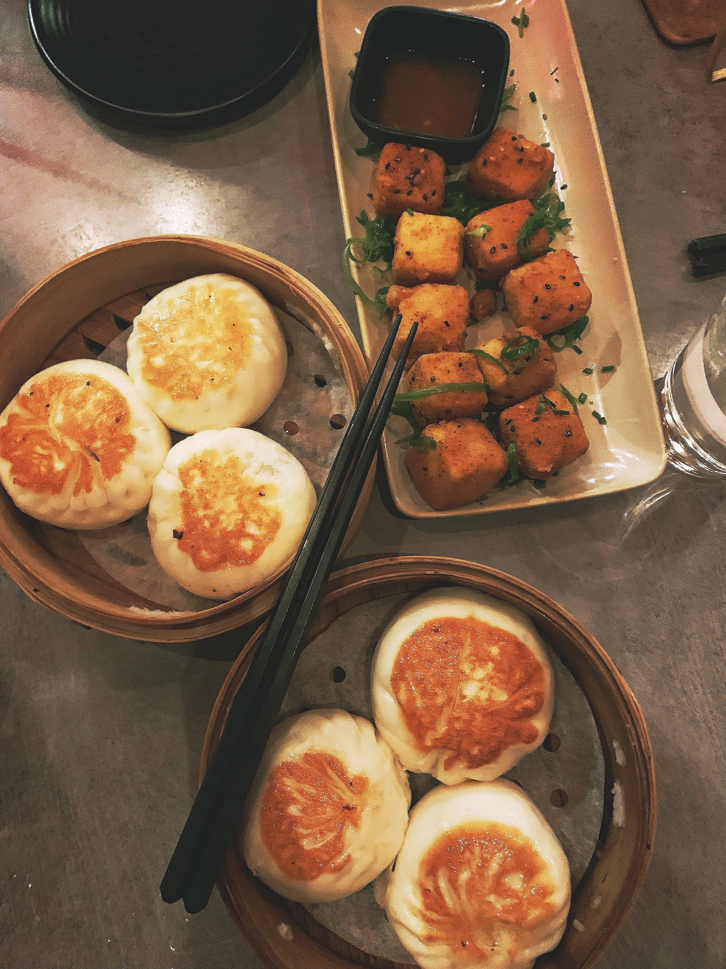 Crispy Sesame Tofu Squares & BBQ Pork Bao (X2)